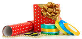 Materials and accessories for wrapping gifts isolated on white — Stockfoto