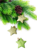 Christmas decorative stars on fir tree, isolated on white — Stock Photo