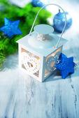 Christmas lantern on light background — Zdjęcie stockowe