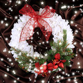 Christmas wreath on fabric background — ストック写真