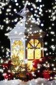 Decorative glowing lantern at night — Zdjęcie stockowe