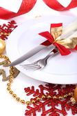 Beautiful Christmas setting close up — Foto de Stock