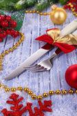 Beautiful Christmas setting close up — Stock Photo