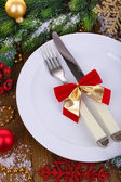 Beautiful Christmas setting close up — Stockfoto