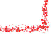Heart-shaped beads on string isolated on white — Stockfoto