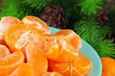 Ripe tangerines in bowl with fir branch close up — Stock Photo