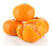 Ripe tangerines isolated on white — Stock Photo