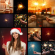 Collage of beautiful girl and sparkler in hands — Stock Photo