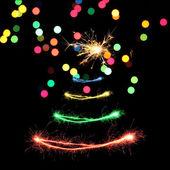 Wunderkerzen im Weihnachtsbaum-Form — Stockfoto
