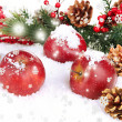 Stock Photo: Red apples with fir branches in snow close up