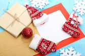 Letter to Santa Claus on wooden table close-up — Stock Photo