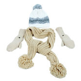 Winter cap, scarf and mittens, isolated on white — Stock Photo