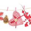 Christmas decorations isolated on white — Stock Photo