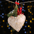 Decorative heart on rope on shiny background — ストック写真
