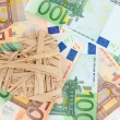 Stock Photo: Love for money concept. Heart on Europecurrency