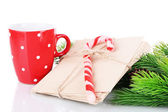 Christmas candy canes, cup with hot drink and letters for Santa, isolated on white — Foto Stock