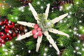 Beautiful snowflake on fir branch close up — Stock Photo