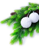 Christmas balls on fir tree, isolated on white — Stock Photo