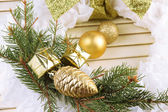 Christmas krans på trä bakgrund — Stockfoto