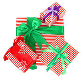 Many colorful presents with luxury ribbons isolated on white background — Stock Photo