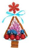 árbol de navidad de los juguetes de navidad aislado en blanco — Foto de Stock