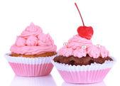 おいしい美しいカップケーキを白で隔離されます。 — ストック写真