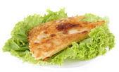 Tasty chebureks with fresh herbs on plate, close-up — Stock Photo