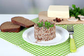 Buckwheat in plate with bread and butter closeup — Stock Photo