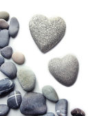 Grey stones in shape of heart, isolated on white — Stock Photo