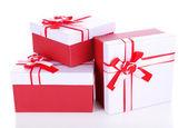 Beautiful gift boxes isolated on white — Stock Photo
