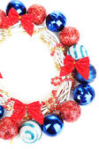 Christmas wreath of colorful balls isolated on white — Stock Photo