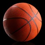 Basketball on black background — Stock Photo