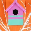 Stock Photo: Decorative nesting box with color branches, on color wooden background