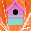 Decorative nesting box with color branches, on color wooden background — Stock Photo #37620951