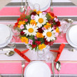 Beautiful table setting for breakfast — Stock Photo