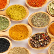 Stock Photo: Assortment of spices in wooden spoons