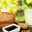 Stock Photo: Soy products on table on bright background