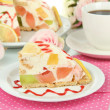 Delicious jelly cake on table close-up — Stock Photo