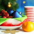 Stock Photo: Place setting for Christmas, on bright background