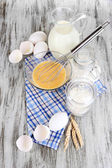 Ingredients for dough on wooden table close-up — Stock Photo