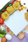 Cooking concept. Groceries with empty cookbook close up — Fotografia Stock