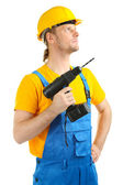 Portrait of young builder isolated on white — Stok fotoğraf