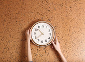 Clock on wall background — Stock fotografie