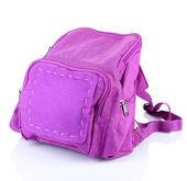 Mochila púrpura suministra aislado en blanco — Foto de Stock