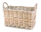 Empty wicker basket isolated on white — Stock Photo