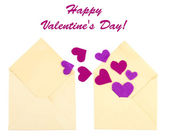 Beautiful old envelopes with decorative hearts, isolated on white — Stock Photo