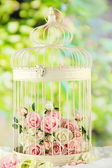 Beautiful decorative cage with beautiful flowers, on nature background — Stock Photo