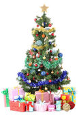 Decorated Christmas tree with gifts isolated on white — Stockfoto