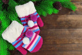 Striped mittens with fir wooden background — Stock Photo