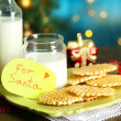 Cookies and milk for Santa. in bright background — Stock Photo